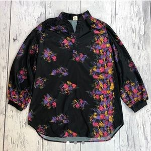 Vintage 70's blouse / silk button up shirt women's
